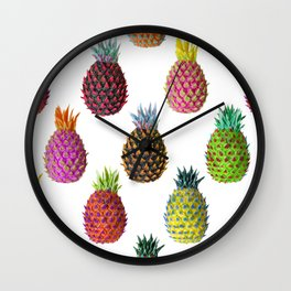 Psychedelic Pineapples in Tropical Colors | Maximalist Pattern Wall Clock