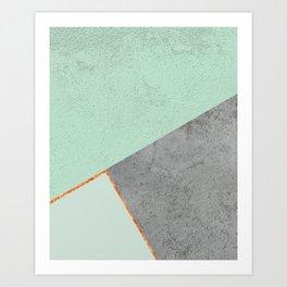 MINT COPPER GRAY GEOMETRIC PATTERN Art Print