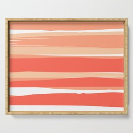 Striped Abstract, Living Coral Californian Sunset Serving Tray