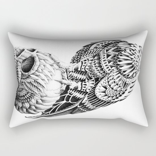 Red-Tail Skull Rectangular Pillow