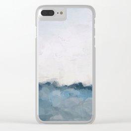 Sky Denim Indigo Navy Blue Ocean Sea Horizon, Abstract Nature Ocean Sunny Clear Morning Water, Paint Clear iPhone Case
