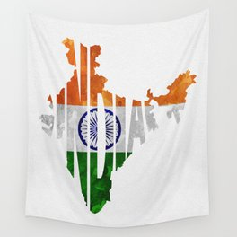 India World Map / Indian Typography Flag Map Art Wall Tapestry