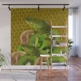 3 GREEN FROGS & KIWI FRUIT PATTERNED GREEN-GOLD ART FROM Wall Mural