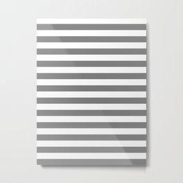 Narrow Horizontal Stripes - White and Gray Metal Print