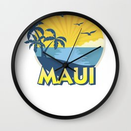 Vintage Maui Aloha Island Surfing 70s Retro Wall Clock