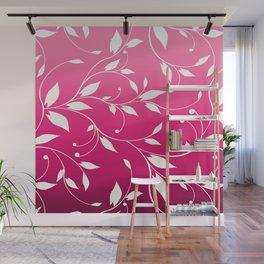 FLOWERY VINES | fuchsia white Wall Mural