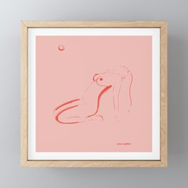 Line Art Red Figure Framed Mini Art Print