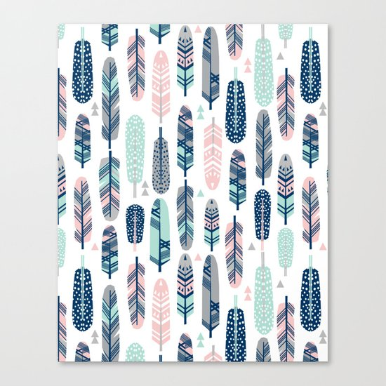 Feathers geometric trendy gender neutral colors modern feather and arrows pattern print dorm college Canvas Print