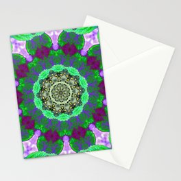 Overdose Of Green Neon Kaleidoscope Stationery Cards