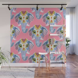 Cute Decorated Watercolor Elephant Pattern Wall Mural