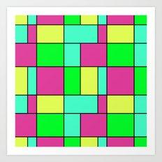 An abstract geometric pattern . Cage green , blue , yellow , crimson . Art Print