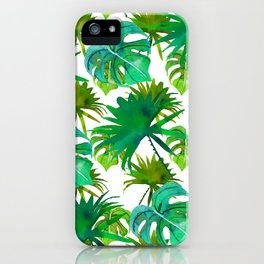 Abstract hand painted forest green watercolor tropical leaves iPhone Case