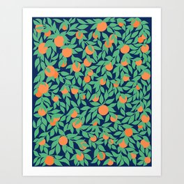 Oranges and Leaves Pattern - Navy Blue Art Print