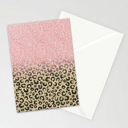Elegant Rose Gold Glitter Black Leopard Print Stationery Cards