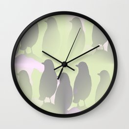 Spring mood - singing birds on a green pink background Wall Clock