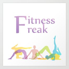 Fitness freak with people doing yoga Art Print
