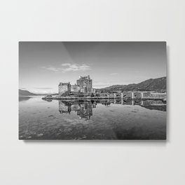 Eilean Donan Castle Black and White Metal Print