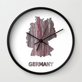 Germany map outline Deep Taupe watercolor Wall Clock