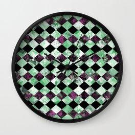 Diamond Pattern In Green, Black And Purple Wall Clock