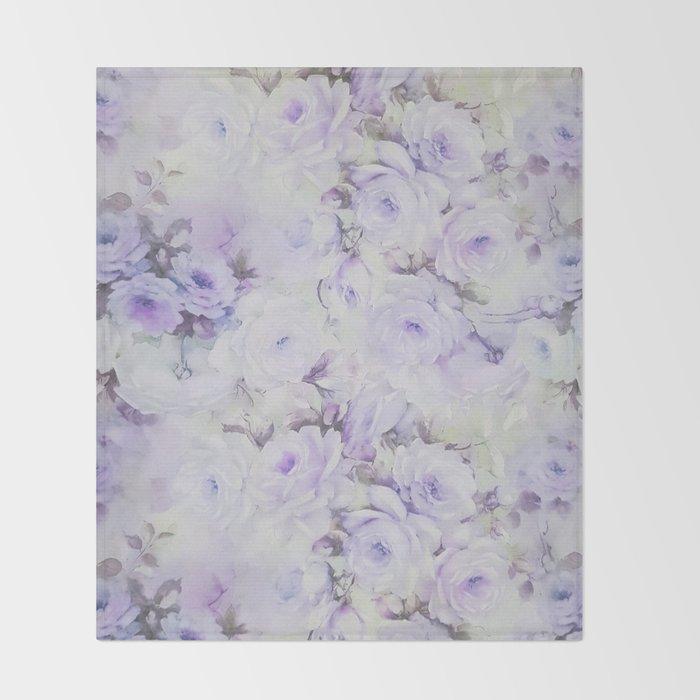 Vintage lavender gray botanical roses floral Throw Blanket