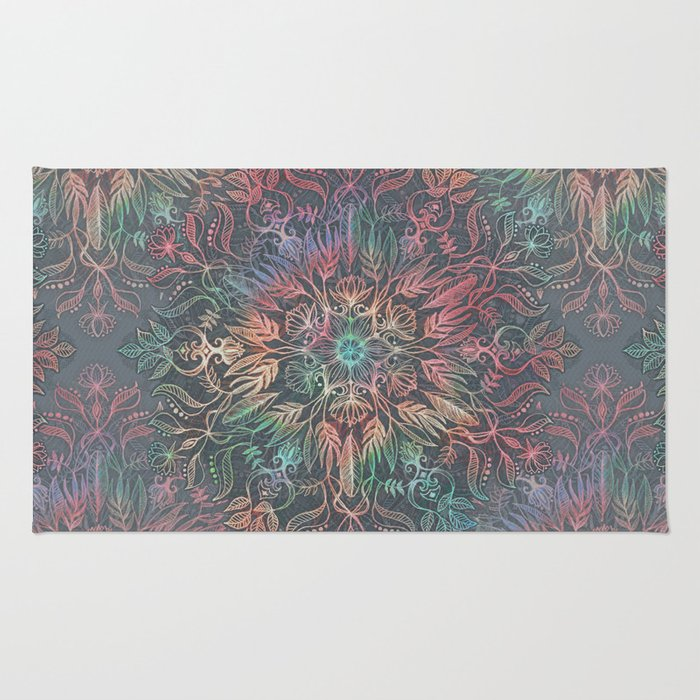 Winter Sunset Mandala in Charcoal, Mint and Melon Rug