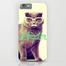 Turquoise Funny Cat Cute Hipster Glasses Mustache Slim Case iPhone 6s