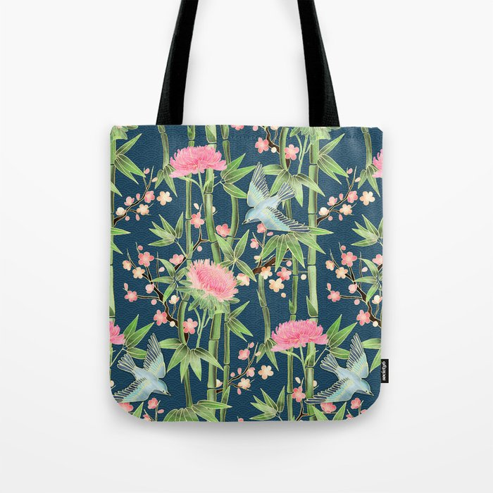 Bamboo, Birds and Blossom - dark teal Tote Bag