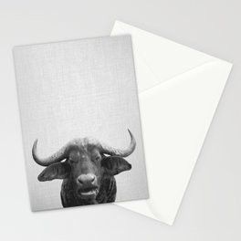 African Buffalo - Black & White Stationery Cards