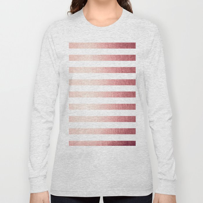 Simply Striped Rose Gold Twilight Long Sleeve T-shirt