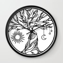 black and white tree of life with hanging sun, moon and stars I Wall Clock
