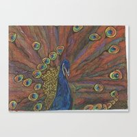 psychadelic Canvas Prints featuring Psychadelic Peacock  by wyattxavier