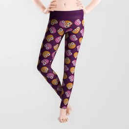 Purple Pink And Orange Bugs Pattern Leggings