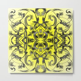 silver in yellow Digital pattern with circles and fractals artfully colored design for house Metal Print