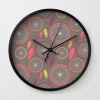dreamcatcher Wall Clocks featuring Dreamcatcher by Rosie Simons