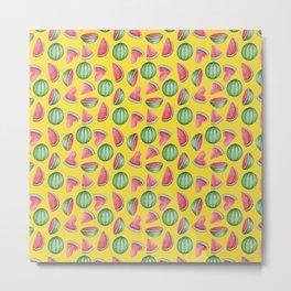 Watermelon Pattern, Yellow Background Metal Print