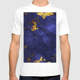 Gold Blue Indigo Malachite Marble T-shirt