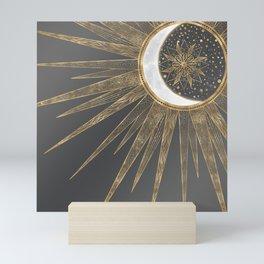 Elegant Gold Doodles Sun Moon Mandala Design Mini Art Print