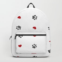 Doodle black paw print with red hearts seamless fabric design repeated pattern Backpack