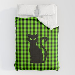Black Cat on Luminous Green and Black Gingham Check Comforters