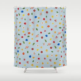 Heart Floral (Blue) Shower Curtain