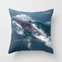 dolphin Throw Pillows featuring Dolphin by WonderfulDreamPicture