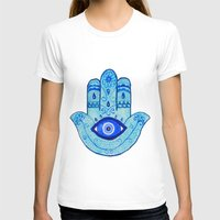 islam T-shirts featuring Hamsa - Blue by Hayley Lang