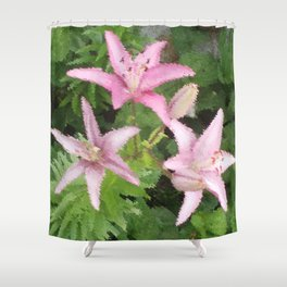 Three Pink Flowers Shower Curtain