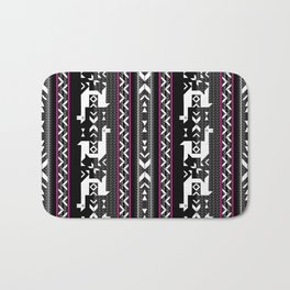 Llamas_Fuchsia stripes Bath Mat