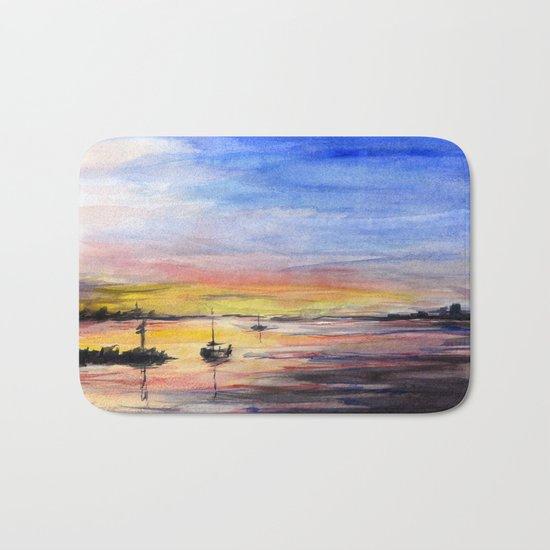 Sunset Watercolor Painting Landscape Art Bath Mat