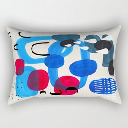 Mid Century Modern Abstract Colorful Art Patterns Ocean Blue Turquoise Grey Rectangular Pillow