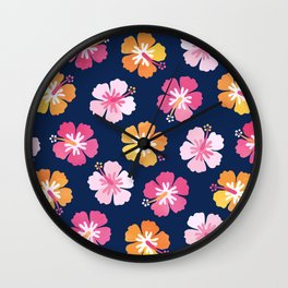 CANDY COLORED HIBISCUS on NAVY Wall Clock