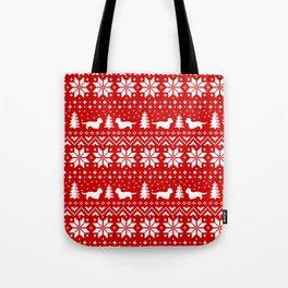 Dandie Dinmont Terrier Silhouettes Christmas Sweater Pattern Tote Bag