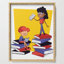 Books and children Serving Tray