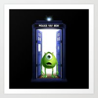monster inc Art Prints featuring Tardis Monster inc by DavinciArt